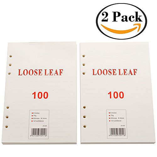 2 Pack A5 Refill Lined Paper 6 Ring Binder Filler Paper Inserts for Refillable Loose Leaf Journal Notebook Diaries, 5.5