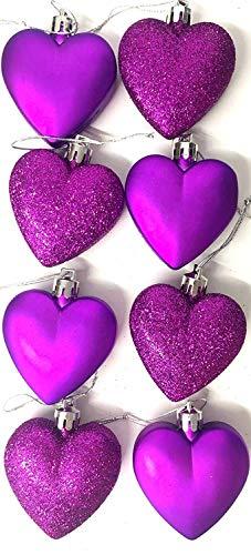 8 x 5cm Purple Glitter + Matt Heart Shaped Christmas Tree Baubles -