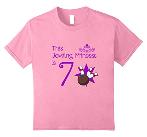 Kids 7 Year Old Bowling Birthday Party 7th Girls Birthday T-Shirt 8 (Party Favor T-shirt)