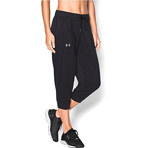 Under Armour Women's Tech Capri, Black/Metallic Silver, (Under Armour Tech Capri)