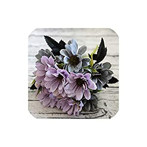 Bling-Bling Case 10Heads/1Bundle Silk Daisy Bride Bouquet for Christmas Home Wedding Year Decoration Fake Plants Sunflower Artificial Flowers,Gray Blue 1