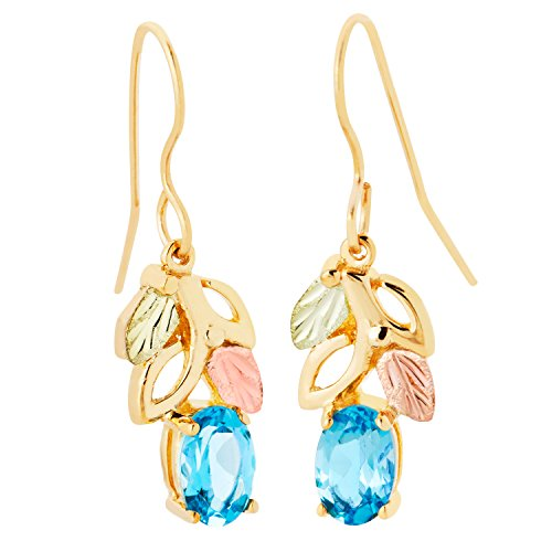 Black Hills Gold Genuine Blue Topaz Earrings in 10K Gold with 12K Gold Leaves ()