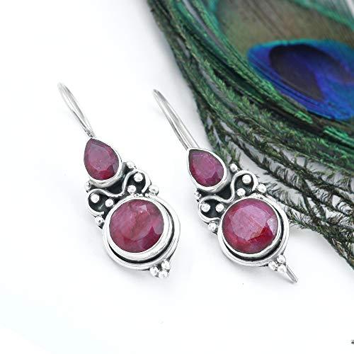 Ruby Earring Silver Earring Elegant Earrings Cocktail Earrings Red Jewelry Pear & Round Shape Earring Gypsy Earrings Faceted Earring Extraordinary Earrings Baguette Ruby Earrings Engagement Gift Jewel