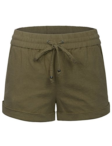KOGMO Womens Lightweight Linen Shorts with Drawstring (10 (Green Pocket Shorts)