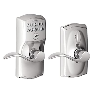 Schlage FE595 CAM 625 ACC Camelot Keypad Entry with Flex-Lock and Accent Levers, Bright Chrome