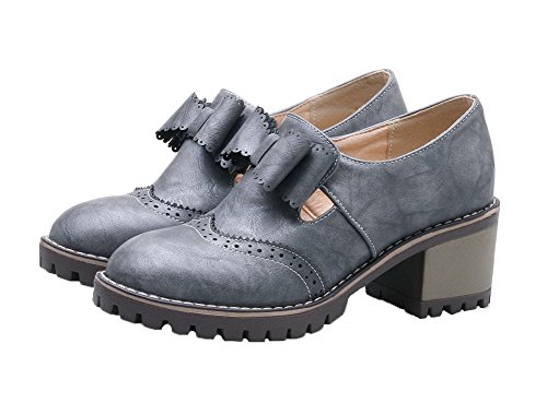 Shoes Heels 39 PU Solid On Women's Gray Pull Kitten Round Toe Pumps AllhqFashion O1qU6vWpcW