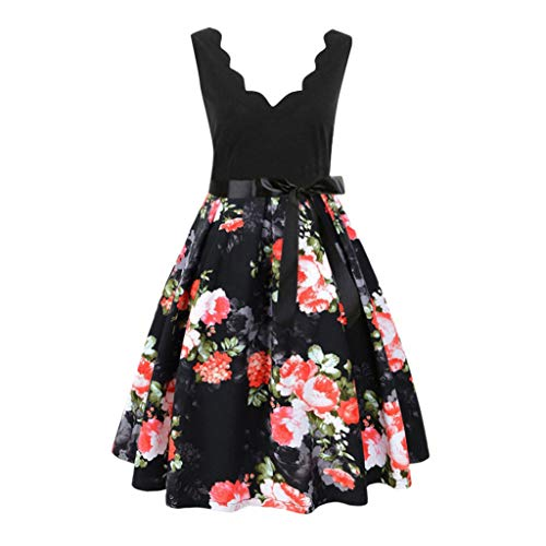 Sunhusing Women Casual Short Sleeve Floral Printed Vintage Flare Gown Belt Lace-Up Evening Party Dress