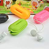 Mini Earphone Holder Case Silicone Cable Winder Cord for Earbuds Wrap Earphones Organizer Winder Carrying Case (Pink)