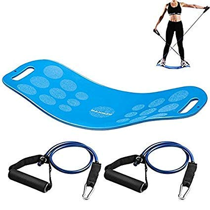 (CANWAY Balance Fit Board with Resistance Tubes, Fitness Board-Exercise Balance Stability Trainer, Non-Slip Safety for Physical Therapy, Tone Muscles, Strengthen Core&Injury Rehab, Yoga Twist Board)