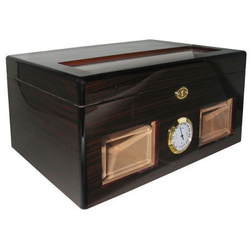 Cuban Crafters Ebony Bravo Negro Glass Top Humidor with Windows 120 Count