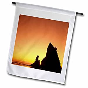Danita Delimont - Beaches - Sea stack, Rialto Beach, Olympic NP, WA - US48 JME0333 - John and Lisa Merrill - 18 x 27 inch Garden Flag (fl_95777_2)