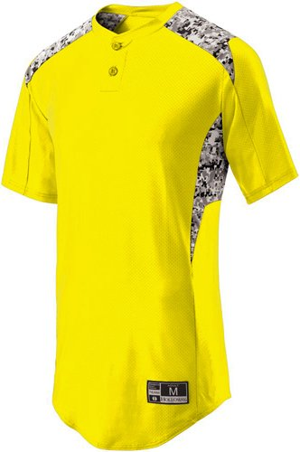 Holloway Sportswear MEN'S BULLPEN JERSEY Men's M Bright Yellow/White Print by Holloway