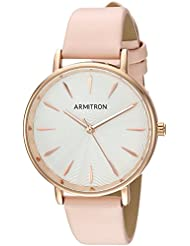 Armitron Womens 75/5481SVRGBN Rose Gold-Tone and Blush Pink Leather Strap Watch