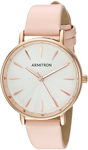 Pink Watch Leather (Armitron Women's 75/5481SVRGBN Rose Gold-Tone and Blush Pink Leather Strap Watch)