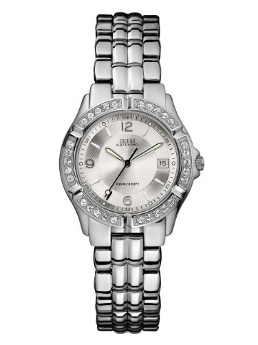 GUESS-Womens-G75511M-Sporty-Silver-Tone-Stainless-Steel-Multi-Function-Watch-with-Date-Dial-and-Deployment-Buckle