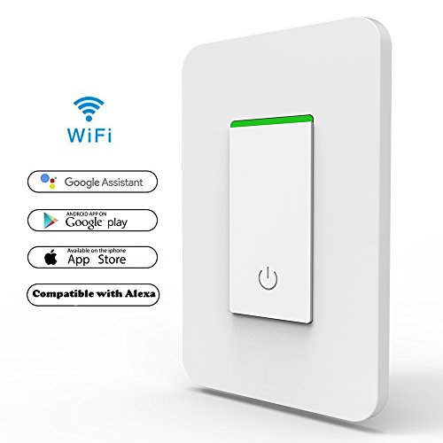 Hanzeek Smart Light Switch, App Remote Control Switch Works with Google Home&Amazon Alexa, Wi-Fi Smart Switch Easy In-Wall Installation,Control/Schedule Your Fixtures (App Switch)