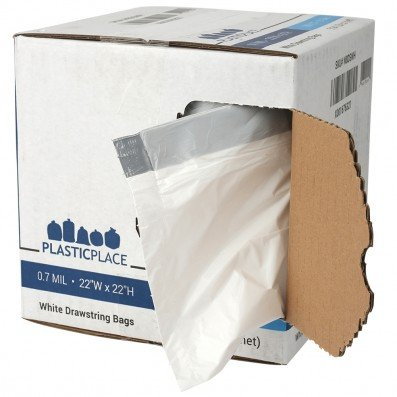 Plasticplace 8 Gallon White Drawstring Bags, 100% Prime Material, 22''x22'', 0.7 Mil, 200/Case - Box Designed with EASY OPEN Flap for your convenience