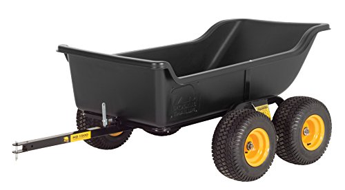 Polar Trailer 8262 HD 1500 Tandem Axle Utility Cart, 98 x 54 x 31-Inch Heavy Duty 1500 Lbs Load Capacity Rugged Wide-Track Tires Quick Release Tipper Latch Tilt & Pivot Frame, Black ()