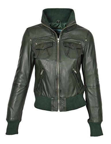 en Chaqueta elegante Green genuino aviador cazadora color entallada chaqueta de estilo Tessa cuero de rHrBvR