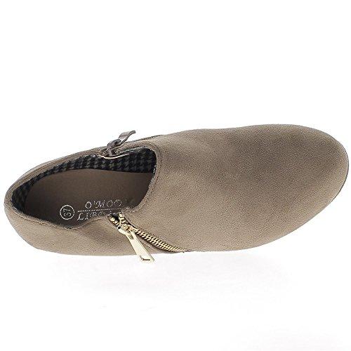 Bottines compensées taupe talon de 9cm aspect daim