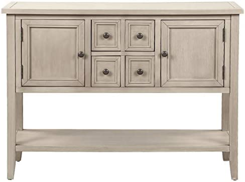 Suwikeke Console Table Buffet Sideboard with Storage Drawers Cabinets and Bottom Shelf, Gray