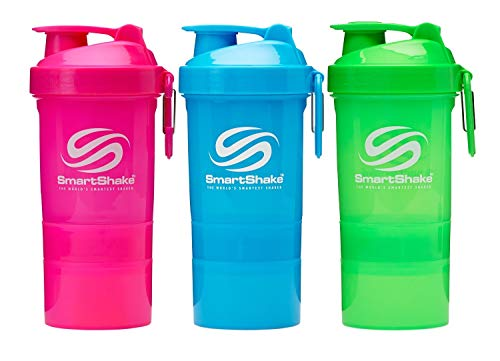 SmartShake Original2GO Shaker Bottle w/Detachable Storage Compartments, BPA/DEHP Free & Carabiner Clip-Great for Fitness Sports Nutrition Supplements 20oz (600ml)-Neon Pink, Blue, Green (3 Pack)