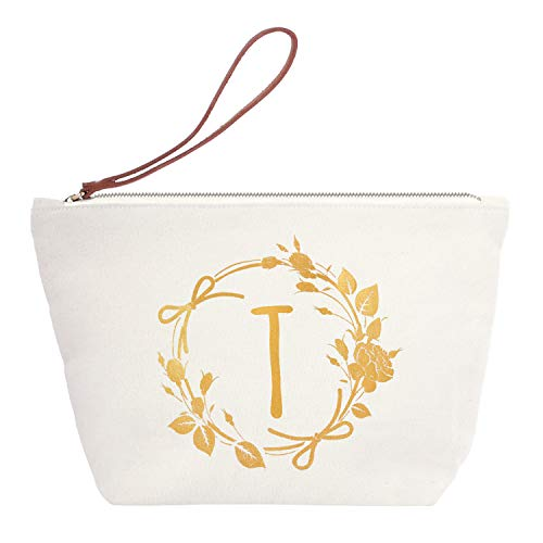 ElegantPark T Initial Monogram Personalized Travel Makeup Cosmetic Bag Wristlet Pouch Gifts with Zipper Canvas