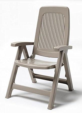 Ideapiu - Dos sillones de resina color pardo, sillón, respaldo alto de exterior, sillón de plástico ajustable: Amazon.es: Hogar