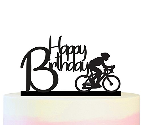 TC0140 Happy Birthday Bicycle Sport Party Wedding Birthday Acrylic Cake Topper Cupcake Toppers Decor Set 11 -