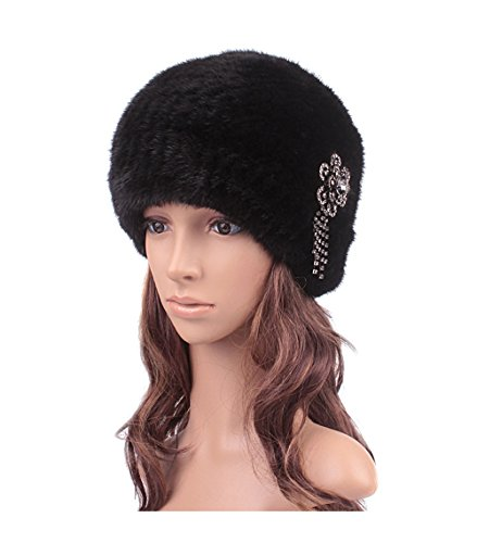 Sunshine Encryption thickened mink fur Knitted thickening earmuffs Fur Hat Multi Color (black) by Sunshine