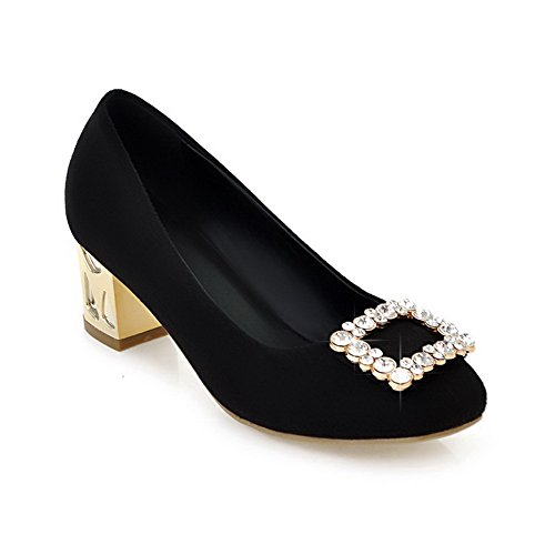 VogueZone009 Womans Closed Round Toe Kitten Heel Frosted Solid Pumps with Rhinestone, Black, 4.5 UK