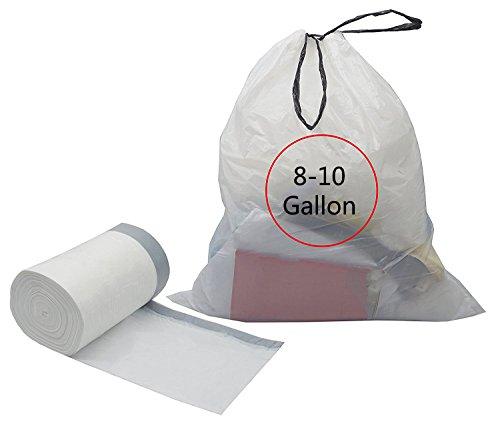 Feiupe 8-10 Gallon Drawstring Trash Bag Garbage Bag Trash Can Liner (8-10 Gallon (90 Bags))