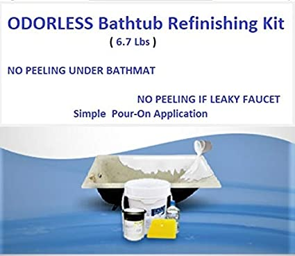 Odorless Bathtub Refinishing Kit, 6.7 Lbs, Pour On Application, Mirror  Gloss Finish