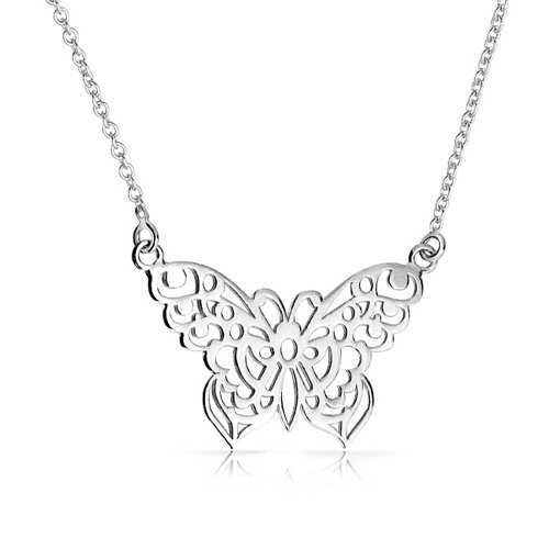 Filigree Butterfly Pendant Sterling Silver Necklace 16 Inches -