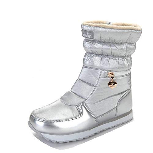 Argent Neige Bootes Bottines Femme Noir Homme Chaude Mi Blanc mollet fanessy De Pluis Hiver Doublure Bottes Ski Fourrée Bootines Up5qw4nxS