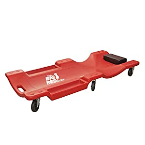 "Torin Big Red Rolling Garage/Shop Creeper: 40"" Plastic Mechanic Cart with Padded Headrest, Red"