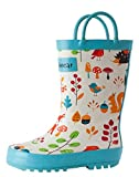 OAKI Kids Rubber Rain Boots with Easy-On Handles, Forest Animals, 4Y US Big Kid