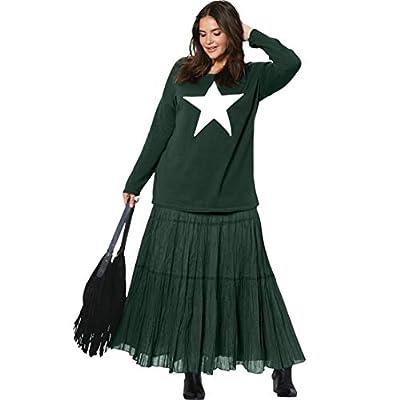 Ellos Women's Plus Size Tiered Crinkle Skirt
