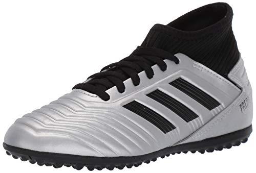adidas Unisex Predator 19.3 Turf Soccer Shoe, Silver Metallic/Black/hi-res red, 2 M US Little Kid