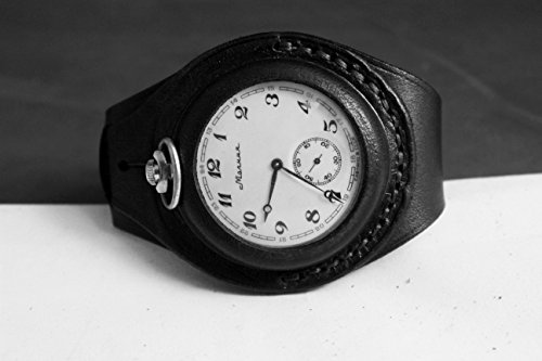 Antique WW1 times New Black Leather STRAP Band WRISTBAND For Pocket Watch 50mm WWII with a harness