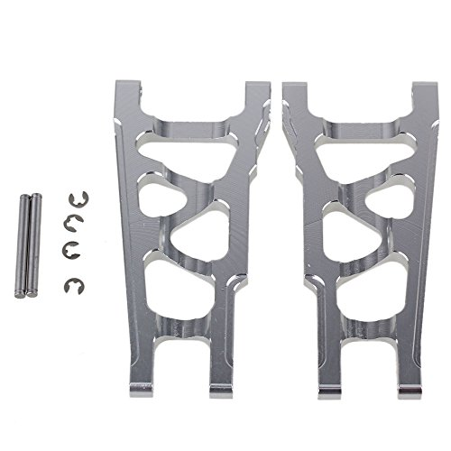 BQLZR Silver SLA007 Aluminum Alloy Front & Rear Suspension Arms Upgrade Parts for TRAXXAS SLASH 4X4 & HQ727 Short Truck RC Car Pack of -