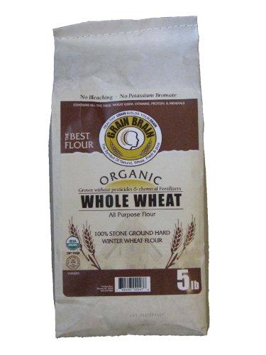 PHERAL FIT Organic Whole Wheat All Purpose Flour, No Bleaching, No Potassium Bromate, (5 Pound) (Flour No Wheat)