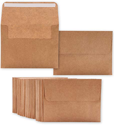 Juvale 100-Count A2 Kraft Envelopes with Self-Seal Square Flap for 5 x 4 Inch Party, Wedding and Baby Shower Invitations, 5.75 x 4.375 Inches