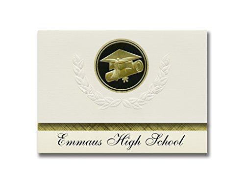 Signature Announcements Emmaus High School (Emmaus, PA) Graduation Announcements, Presidential style, Elite package of 25 Cap & Diploma Seal Black & (Emmaus Pa)