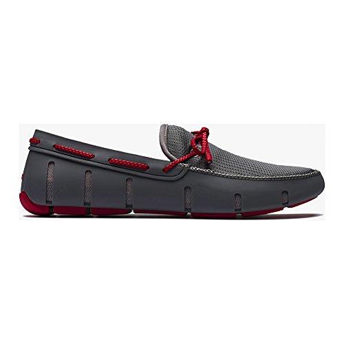 Swims bateaux Gris et Rouge Braided Lace Loafer Pour Homme -
