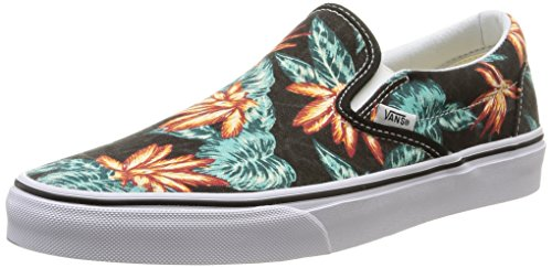 Vans Unisex Classic Slip-On Vintage Aloha Black/True White Sneaker Size Mens 7.5, Womens 9