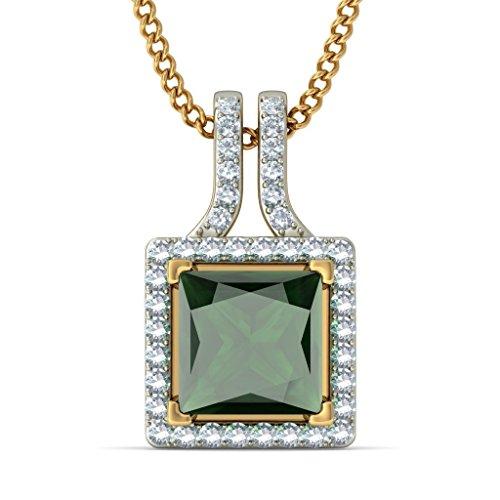 Or jaune 18K/CT TW Round-cut-diamond (IJ | SI) et pendentif Tourmaline verte