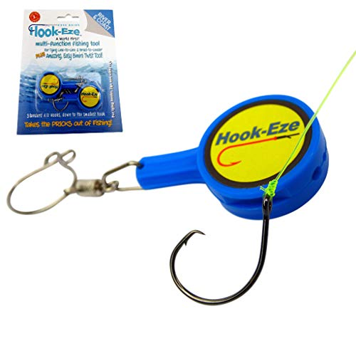 HOOK-EZE Fishing Knot Tying Tool for Fishing Hooks All in One - Cover Hooks on Fishing Rods | Line Cutter | for Saltwater Freshwater Bass Kayak Ice Fishing