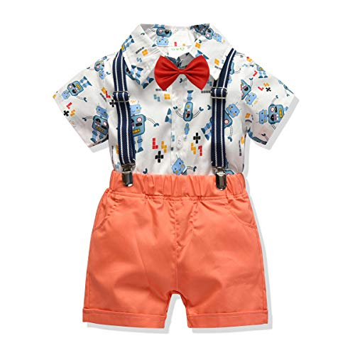 Carlstar Little Boys Gentleman Outfit Suits,Baby Boys Short Pants Set,Short Sleeve Shirt+Suspender Pants+Bow Tie 4Pcs (Robot, 2-3T/90)