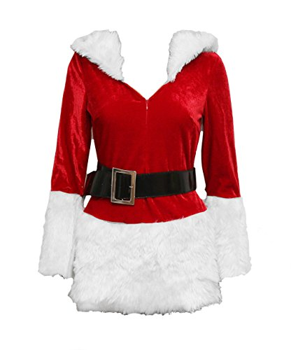 Bslingerie Christmas Santa Girl Women Mrs. Claus Costume Outfit (M, White)